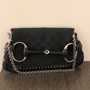 Authentic Gucci black canvas/leather clutch 64530